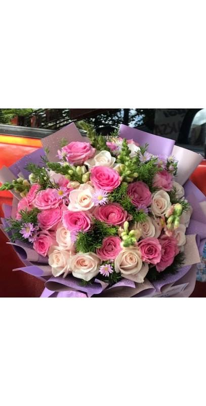 Hoa sinh nhật lớn nhiều màu
