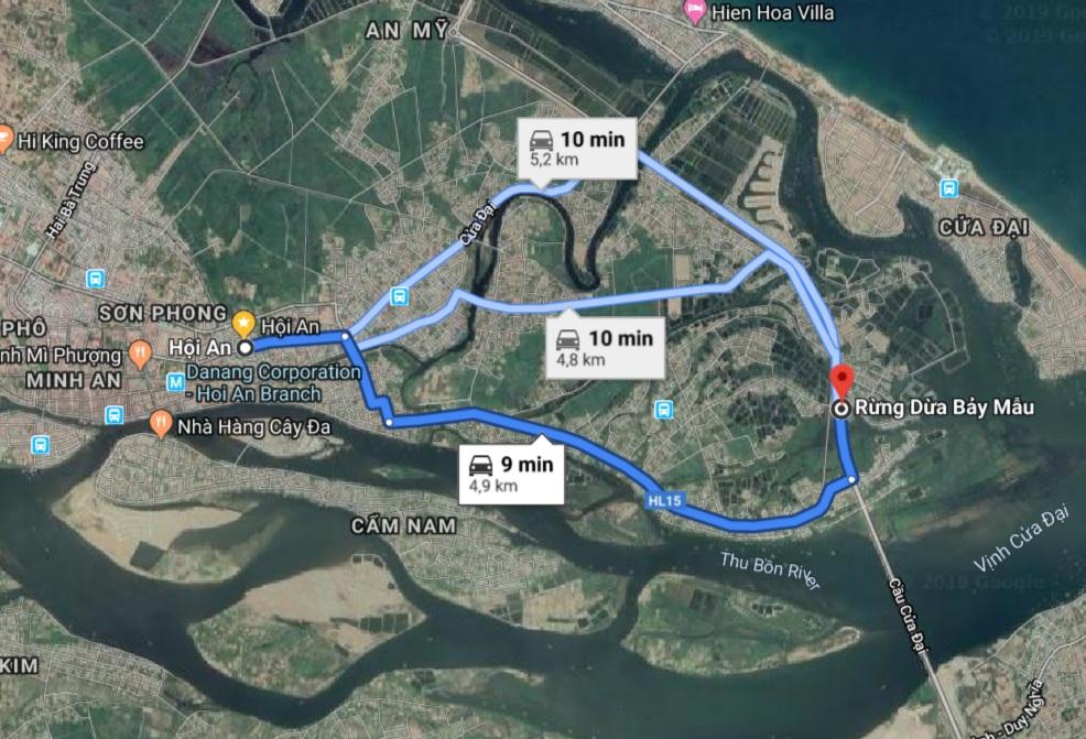 Rừng dừa Bẩy Mẫu cách phố cổ Hội An gần 5km