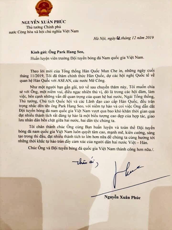 Thủ tướng viết thư gửi ông Part Hang Seo